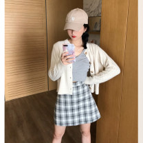 skirt Autumn of 2019 S,M,L Grey grid Short skirt High waist other Type A