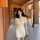 Dress Spring 2021 White dress pre-sale 10 working days, white shirt S,M,L Short skirt singleton  Short sleeve commute V-neck puff sleeve Others Type A Retro Q210217v collar lace dress cotton