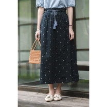 skirt Summer 2020 S,M,L,XL Black print longuette commute Natural waist other Decor Type A 30-34 years old 51% (inclusive) - 70% (inclusive) brocade What you look like in the past and this life cotton Retro