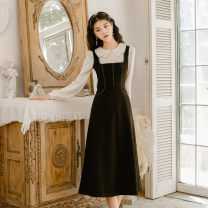 Dress Winter of 2019 Black single skirt S,M,L Mid length dress singleton  commute square neck High waist Socket Big swing routine straps Type A Retro
