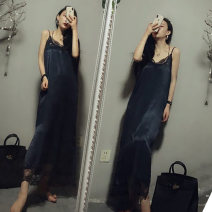 Women's large Summer 2020, spring 2020 Black, Navy, Burgundy Large XL, large XXL, large XXL Dress singleton  commute easy moderate Socket Sleeveless Solid color Korean version V-neck Medium length Three dimensional cutting Lace stitching longuette other Hollowing out