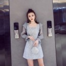 Dress Autumn 2020 grey S,M,L Short skirt singleton  Long sleeves street square neck High waist Solid color zipper A-line skirt pagoda sleeve Others 25-29 years old other Europe and America
