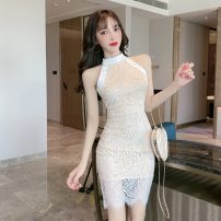 Dress Summer 2021 White, black S,M,L Short skirt singleton  Sleeveless commute other middle-waisted Socket Pencil skirt other Hanging neck style 18-24 years old Korean version three point one nine