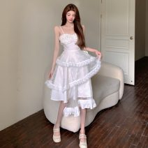 Dress Summer 2021 Picture color S, M Mid length dress singleton  Sleeveless commute V-neck High waist Irregular skirt other camisole 18-24 years old Korean version three point two seven