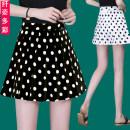 skirt Summer 2021 M,L,XL,2XL,3XL,4XL Black, white Short skirt commute High waist A-line skirt Dot Type A 51% (inclusive) - 70% (inclusive) Chiffon polyester fiber zipper Korean version