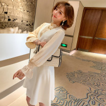 Dress Spring 2020 White + black, black + black, apricot + off white S,M,L Short skirt Two piece set Long sleeves commute stand collar High waist A-line skirt pagoda sleeve Others Type X miuco Ol style D-68617