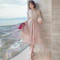skirt Spring 2021 XS,S,M,L,XL,2XL,3XL Wave point Mid length dress commute High waist Umbrella skirt Dot Type A miuco Ol style