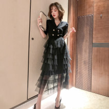 Dress Spring 2021 White, black XS,S,M,L,XL,2XL,3XL Mid length dress Fake two pieces Short sleeve commute tailored collar High waist Solid color Socket routine Type X miuco Ol style Splicing, mesh D-68548