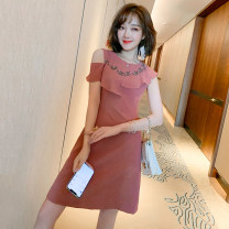 Dress Spring 2021 Bean paste XS,S,M,L,XL,2XL,3XL Short skirt singleton  Short sleeve commute Crew neck High waist Solid color Socket A-line skirt other Others Type X miuco Ol style Ruffles, diamonds, stitching