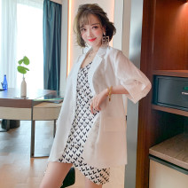 Dress Spring 2021 White + white, pink + white XS,S,M,L,XL,2XL,3XL Short skirt Two piece set three quarter sleeve commute tailored collar High waist other Pencil skirt routine Others Type X miuco Ol style printing C0949D0274
