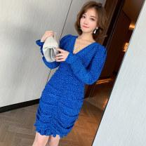 Dress Summer 2020 blue S,M,L Short skirt singleton  Long sleeves commute V-neck High waist Socket Pencil skirt puff sleeve Type X miuco Ol style fold