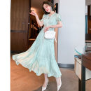 Dress Spring 2021 Off white + Off white , green + green S,M,L,XL,2XL,3XL Mid length dress Two piece set Short sleeve commute V-neck High waist Solid color pagoda sleeve Type X miuco Ol style Auricularia auricula, lace up, stitching D - sixty-nine thousand three hundred and forty-six