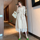 Dress Autumn 2020 Green + green, white + apricot XS,S,M,L,XL,2XL,3XL Short skirt Two piece set Long sleeves commute tailored collar High waist other double-breasted Ruffle Skirt routine Others Type X miuco Ol style C0112S0672