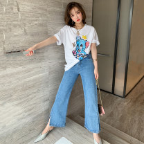 Jeans Spring 2020 Denim blue S,M,L,XL trousers High waist Wide legged trousers routine Wash and whiten light colour P0030 miuco