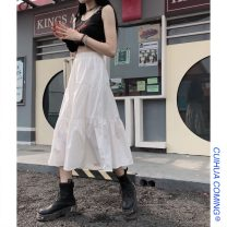 skirt Summer 2021 Average size White, black Mid length dress commute High waist A-line skirt Solid color Type A 18-24 years old 51% (inclusive) - 70% (inclusive) other Other / other other Stitching, cake skirt Korean version