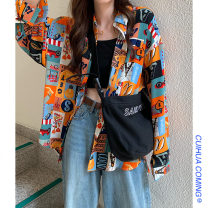 shirt Picture color Average size Spring 2021 other 51% (inclusive) - 70% (inclusive) Long sleeves commute Regular Polo collar Single row multi button shirt sleeve other 18-24 years old Straight cylinder Other / other Korean version printing