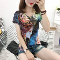 Women's large Summer of 2019 Decor T-shirt singleton  street Self cultivation moderate Socket Short sleeve character Crew neck routine Cotton, Lycra Lycra Three dimensional cutting routine Ouweiduo 18-24 years old 91% (inclusive) - 95% (inclusive) Europe and America