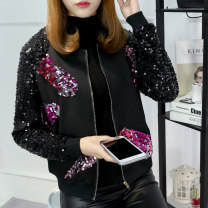 short coat Spring of 2019 M,L,XL,2XL,3XL,4XL,5XL Black, black plush Long sleeves routine routine singleton  easy street routine stand collar zipper Abstract pattern 25-29 years old Ouweiduo 91% (inclusive) - 95% (inclusive) Embroidery, zipper, stitching OVD9701-A cotton cotton