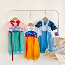 T-shirt 21d Hanfu yellow, 21d Hanfu blue, 21d Hanfu green milamilakids 90cm,100cm,110cm,120cm,130cm,140cm female summer Short sleeve Crew neck leisure time There are models in the real shooting nothing Pure cotton (100% cotton content) Cartoon animation Chinese Mainland
