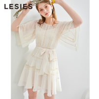 Dress Summer of 2019 06 Beige 155/80A 160/84A 165/88A 170/92A Mid length dress Two piece set Short sleeve commute Crew neck High waist other Socket other other Others 25-29 years old Type H Lesies / blue lady LS596919 More than 95% other polyester fiber Polyester 100%