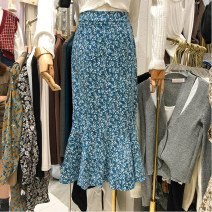 skirt Spring 2021 S, M Blue, brown Mid length dress Versatile High waist A-line skirt Decor Type A 31% (inclusive) - 50% (inclusive) other other