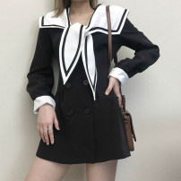 Dress Spring 2021 Black, white S,M,L Mid length dress singleton  Long sleeves Solid color double-breasted puff sleeve Type A 31% (inclusive) - 50% (inclusive)