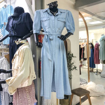 Dress Summer 2020 blue Average size Mid length dress singleton  elbow sleeve High waist Solid color Single breasted other puff sleeve 31% (inclusive) - 50% (inclusive) Denim
