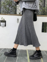 skirt Autumn of 2018 Average size Grey black Mid length dress commute High waist A-line skirt Solid color Type A 18-24 years old Korean version