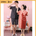 Pajamas / housewear set lovers Damos.love/daimengsi M [skin friendly and breathable] l [soft and comfortable] XL [same model in shopping mall] XXL [genuine tmall] XXXL [quality problem, return by mail] Men's and women's cotton Short sleeve Cartoon Leisure home summer Thin money Small lapel shorts