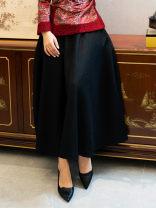 skirt Winter of 2019 S M L XL XXL 9580 black Mid length dress Versatile Natural waist Wool Ruyifeng Pure e-commerce (online only)