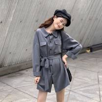 Windbreaker Autumn 2020 Average size Black, gray, card Long sleeves Medium length commute other square neck routine Solid color Straight cylinder 18-24 years old 71% (inclusive) - 80% (inclusive) polyester fiber polyester fiber