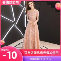 Dress / evening wear Wedding, adult party, company annual meeting, daily appointment XS S M L XL XXL customized non refundable Long pink fashion longuette middle-waisted Winter of 2018 Fall to the ground One shoulder Bandage 18-25 years old Short sleeve other Love sea bride routine Other 100% other