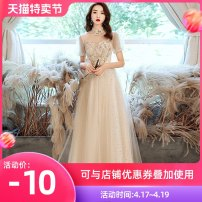 Dress / evening wear Weddings, adulthood parties, company annual meetings, daily appointments XS S M L XL XXL customized contact customer service Champagne long fashion longuette middle-waisted Winter 2020 Fall to the ground stand collar Bandage 18-25 years old QHXNLF703 elbow sleeve flower routine