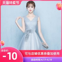 Dress / evening wear Wedding, adult party, company annual meeting, daily appointment XS S M L XL XXL customized contact customer service grey fashion Short skirt middle-waisted Autumn of 2018 Skirt hem Deep collar V Bandage 18-25 years old Sleeveless Solid color Love sea bride routine Other 100%