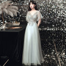 Dress / evening wear Weddings, adulthood parties, company annual meetings, daily appointments XS S M L XL XXL tailor made without return Long grey fashion longuette middle-waisted Autumn 2020 Fall to the ground Deep collar V Bandage 18-25 years old QHXNLF664 elbow sleeve Nail bead Solid color routine