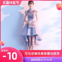 Dress / evening wear Weddings, adulthood parties, company annual meetings, daily appointments XS S M L XL XXL customized contact customer service grey fashion Short skirt middle-waisted Autumn of 2019 Self cultivation stand collar zipper 18-25 years old QHXNLF459 Short sleeve flower Solid color other
