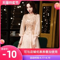 Dress / evening wear Weddings, adulthood parties, company annual meetings, daily appointments Customized contact customer service XS S M L XL XXL Champagne gold long fashion longuette middle-waisted Winter 2020 Fall to the ground stand collar zipper 18-25 years old Long sleeves Nail bead Solid color