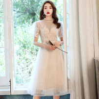 Dress / evening wear Weddings, adulthood parties, company annual meetings, daily appointments XS S M L XL XXL customized contact customer service Medium length in Champagne fashion Medium length middle-waisted Winter 2020 Skirt hem stand collar Bandage 18-25 years old QHXNLF702 elbow sleeve routine