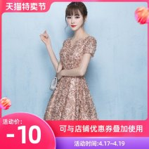 Dress / evening wear Wedding, adult party, company annual meeting, daily appointment XS S M L XL XXL customized contact customer service khaki fashion Short skirt middle-waisted Summer 2017 Skirt hem U-neck zipper 18-25 years old Short sleeve flower Solid color Love sea bride routine Other 100% other