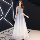 Dress / evening wear Wedding, adult party, company annual meeting, daily appointment XS S M L XL XXL customized non refundable fashion longuette middle-waisted Winter of 2018 Fall to the ground U-neck Bandage 18-25 years old Short sleeve Solid color Love sea bride Wrap sleeves Other 100% other