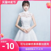 Dress / evening wear Wedding, adult party, company annual meeting, daily appointment XS S M L XL XXL customized contact customer service white fashion Short skirt middle-waisted Spring of 2018 Skirt hem stand collar zipper 18-25 years old Short sleeve flower Solid color Love sea bride routine other
