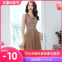 Dress / evening wear Weddings, adulthood parties, company annual meetings, daily appointments Customized contact customer service XS S M L XL XXL Gold Khaki long fashion longuette middle-waisted Winter 2020 Fall to the ground Deep collar V zipper 18-25 years old Sleeveless Nail bead Solid color other