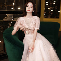 Dress / evening wear Weddings, adulthood parties, company annual meetings, daily appointments XS S M L XL XXL customized contact customer service Long pink fashion longuette middle-waisted Winter 2020 Fall to the ground U-neck Bandage 18-25 years old QHXNLF735 elbow sleeve Nail bead Solid color other