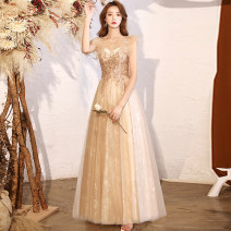 Dress / evening wear Weddings, adulthood parties, company annual meetings, daily appointments XS S M L XL XXL customized contact customer service Gold long fashion longuette middle-waisted Winter 2020 Fall to the ground U-neck zipper 18-25 years old QHXNLF727 Short sleeve Nail bead Solid color other