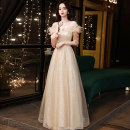 Dress / evening wear Weddings, adulthood parties, company annual meetings, daily appointments Customized contact customer service XS S M L XL XXL Gold long fashion longuette middle-waisted Winter 2020 Fall to the ground One shoulder Bandage 18-25 years old QHXNLF734 elbow sleeve Nail bead Solid color