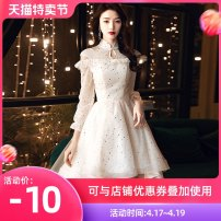Dress / evening wear Weddings, adulthood parties, company annual meetings, daily appointments XS S M L XL XXL tailor made without return fashion Medium length middle-waisted Summer 2020 Skirt hem stand collar zipper 18-25 years old elbow sleeve Nail bead Solid color Love sea bride routine Other 100%