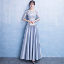 Dress / evening wear Wedding, adult party, company annual meeting, daily appointment XS S M L XL XXL customized contact customer service Smoky grey black fashion longuette middle-waisted Winter 2017 Fall to the ground U-neck zipper 18-25 years old elbow sleeve Solid color Love sea bride routine other
