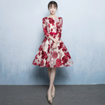 Dress / evening wear Wedding, adult party, company annual meeting, daily appointment XS S M L XL XXL customized contact customer service fashion Short skirt middle-waisted Summer 2017 Skirt hem U-neck Bandage 18-25 years old elbow sleeve flower Abstract pattern Love sea bride routine Other 100% other