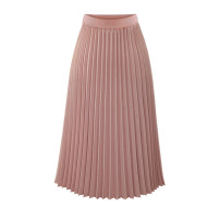 skirt Summer of 2019 S,M,L,XL Pink, black, white Mid length dress street High waist Pleated skirt Solid color Type A 18-24 years old Chiffon polyester fiber Europe and America