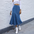 skirt Spring 2021 XS,S,M,L blue Mid length dress street High waist A-line skirt Solid color Type A 18-24 years old Denim Asymmetric splicing Europe and America